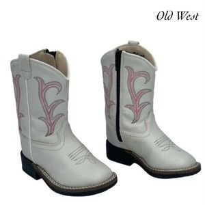Old West White Western Boots Kids VB1030